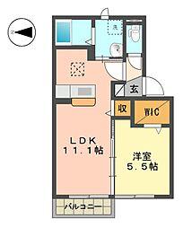 愛知県名古屋市名東区引山3丁目の賃貸アパートの間取り