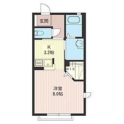 エトワール松山B[2階]の間取り