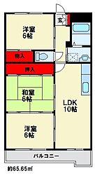 福岡県大野城市中3丁目の賃貸マンションの間取り