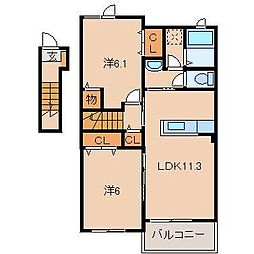 JR阪和線 紀伊駅 バス10分 中黒北下車 徒歩5分の賃貸アパート 2階2LDKの間取り
