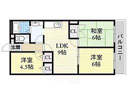 ヴィラ桜井 9階3LDKの間取り
