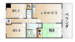 ジョイフル桧垣[8階]の間取り