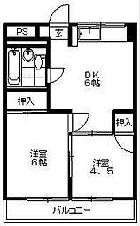 東京都世田谷区瀬田2丁目の賃貸マンションの間取り