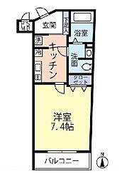JR中央線 四ツ谷駅 徒歩6分の賃貸マンション 1階1Kの間取り