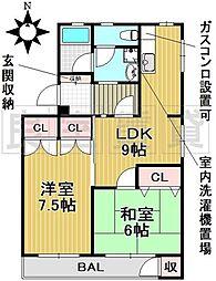 愛知県名古屋市千種区園山町2丁目の賃貸マンションの間取り
