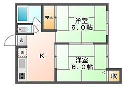 岡山県岡山市東区宍甘の賃貸アパートの間取り
