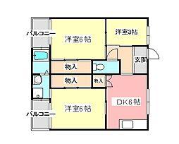 ヴィレッジハウス加賀田[4階]の間取り