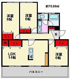 ノガミ平原ビル[405号室]の間取り