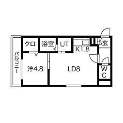 SENNA澄川 2階1LDKの間取り