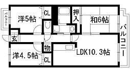 兵庫県宝塚市平井2丁目の賃貸マンションの間取り
