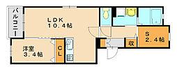 プラッツA[4階]の間取り