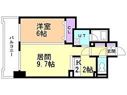 SquareMS6.14II 7階1LDKの間取り
