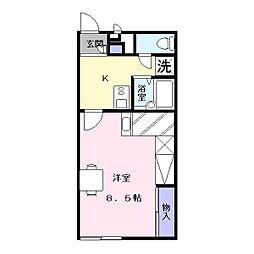 奈良県天理市勾田町の賃貸アパートの間取り