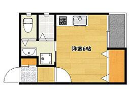 JR山陽本線 明石駅 徒歩7分の賃貸アパート 1階ワンルームの間取り
