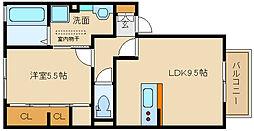 大阪府羽曳野市誉田3丁目の賃貸アパートの間取り