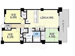 大阪モノレール本線 少路駅 徒歩5分の賃貸マンション 4階3LDKの間取り