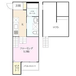 福岡県福岡市早良区次郎丸2丁目の賃貸アパートの間取り