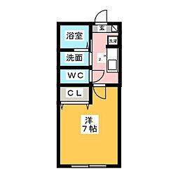 シャルム桜木 1階1Kの間取り