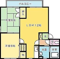 グランシャーメゾン D棟[102号室]の間取り