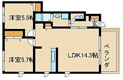 兵庫県加古川市別府町西脇2丁目の賃貸アパートの間取り