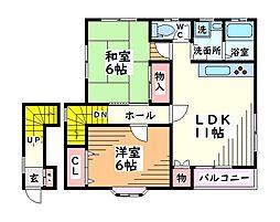 東京都日野市大坂上1丁目の賃貸アパートの間取り