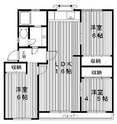 東京都板橋区大谷口の賃貸マンションの間取り