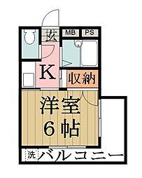 田所マンション[202号室]の間取り