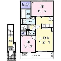 東京都多摩市和田3丁目の賃貸アパートの間取り