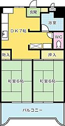 福岡県北九州市小倉北区三萩野2丁目の賃貸マンションの間取り