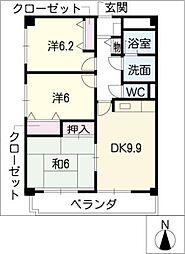 スカイコート黒沢台[5階]の間取り