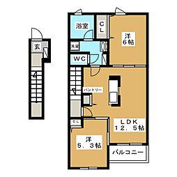 赤池町アパートB 2階2LDKの間取り