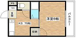 津之江パークハイツ2号館[401号室]の間取り