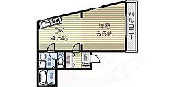 CREST-5 3階1DKの間取り