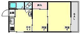 兵庫県神戸市垂水区千鳥が丘2丁目の賃貸アパートの間取り