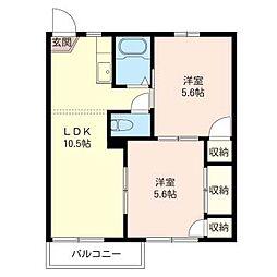 コ−ポ宮ノ前[2階]の間取り