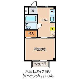 長野県茅野市湖東上菅沢の賃貸アパートの間取り
