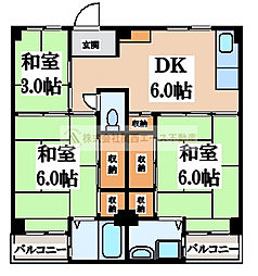 ビレッジハウス伏屋1号棟[5階]の間取り