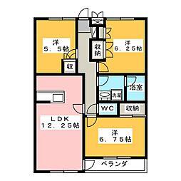 静岡県三島市長伏の賃貸アパートの間取り