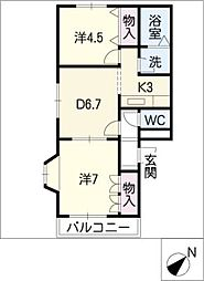 グランブルー弐番館[2階]の間取り