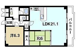 藤和奈良ハイタウン[2階]の間取り