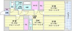 仙台市地下鉄東西線 八木山動物公園駅 4.6kmの賃貸マンション 4階3DKの間取り