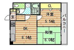 高井田青山ビル[602号室]の間取り