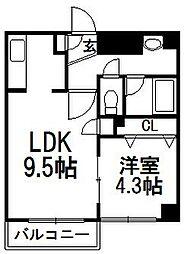 北海道札幌市白石区本郷通13丁目北の賃貸マンションの間取り