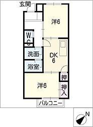 サープラスツー西富田[2階]の間取り