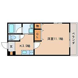 JR東海道本線 静岡駅 徒歩14分の賃貸マンション 1階1Kの間取り