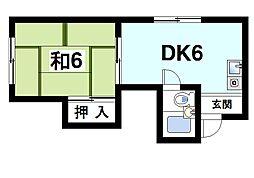 奈良県奈良市雑司町の賃貸マンションの間取り