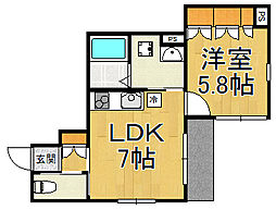 阪急神戸本線 西宮北口駅 徒歩12分の賃貸アパート 1階1DKの間取り