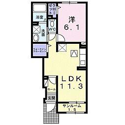 JR久大本線 筑後吉井駅 徒歩24分の賃貸アパート 1階1LDKの間取り