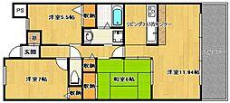 エバーランドシティ新・泉北六番館(305)[305号室]の間取り