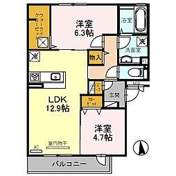 大阪府八尾市高美町1丁目の賃貸アパートの間取り